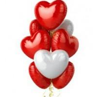 """Шары с гелием """"Сердца белые и красные"""" (75 см) 9 шт., , 2900 р., Шары с гелием """"Сердца белые и красные"""" , , Шары с гелием"""