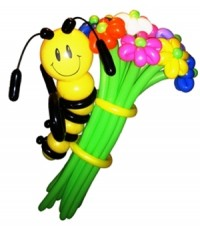 """Цветы из шаров """"Пчелка на цветах"""" 21 шт."""