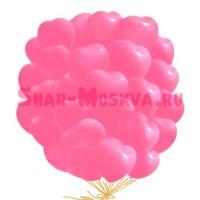 """Шары с гелием """"Большие розовые сердца """" (38 см) 25 шт. , , 2790 р., розовые сердца, , Шары с гелием"""