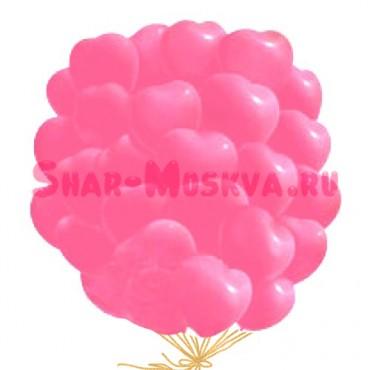 """Шары с гелием """"Большие розовые сердца """" (38 см) 25 шт."""
