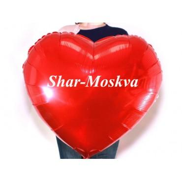 Сердце фольгированное большое 80 см  с надписью (Цвет шара и надпись на Ваш выбор)