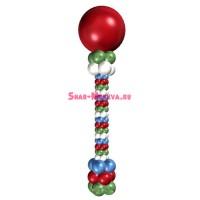 Стойка из маленьких шаров 3 цвета + фольгированный шар, , 2490 р., 3 цвета мал, , Стойки из шаров