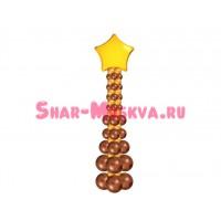 Стойка из шаров 2 цвета с фольгированным шаром (круг, сердце, звезда), , 3090 р., стойка колонна, , Стойки из шаров