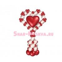Стойка из шаров линколунов +2 цвета с фольгированным сердцем