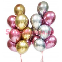 """Воздушные шары """"Хром"""" золото+бургундия+серебро 20 шт., , 3390 р., Воздушные шары хром золото+бургундия, , Оформление шарами"""