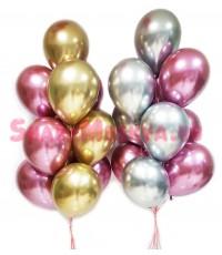 """Воздушные шары """"Хром"""" золото+бургундия+серебро 20 шт."""