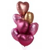 """Шары с гелием """"Сатиновые сердца"""", цв.  золото+розовый 9 шт."""