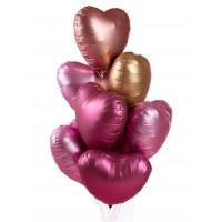 """Шары с гелием """"Сатиновые сердца"""", цв.  золото+розовый 9 шт., , 2090 р., Сатиновые сердца2, , Влюблённым"""