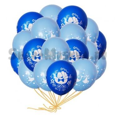 """Шары с гелием """"Для новорожденного мальчика """" (35 см.) 25 шт."""