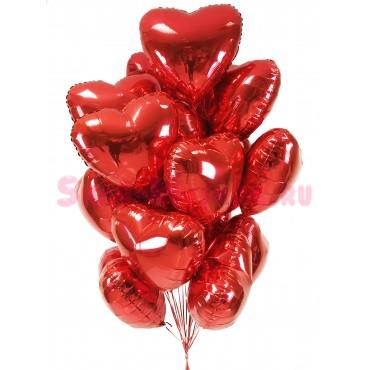 """Композиция из шаров """"Фольгированные красные сердца"""" 15 шт"""