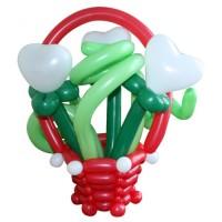 """Корзинка с цветами из воздушных шаров """"Цветы любви"""""""