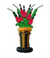 """Корзина с цветами из воздушных шаров """"Алые Гладиолусы"""""""