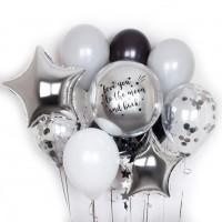 """Композиция из шаров """"серебряная сфера + надпись"""" 11 шт., , 2590 р., Композиция сфера с надписью, , Влюблённым"""