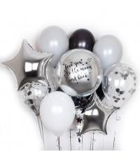 """Композиция из шаров """"серебряная сфера + надпись"""" 11 шт."""
