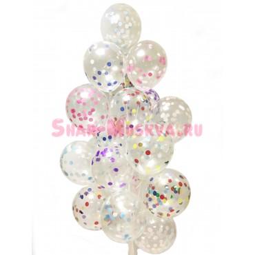 """Воздушные шары """"Разноцветное конфетти""""  19 шт."""