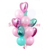 """Композиция из шаров """"Розово-бирюзовые сатиновые сердца"""" 20 шт."""