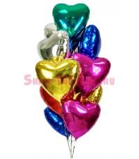 """Шары с гелием """"Сердца любовное ассорти"""" (45 см) 11 шт."""