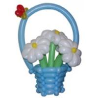 """Корзинка с цветами из воздушных шаров """"Нежность"""""""