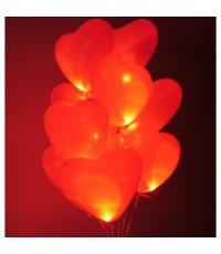 Светящиеся сердца с гелием большие (40 см) 15 шт.