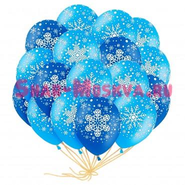 """Шары с гелием """"Новогодние снежинки"""" (35 см) 25 шт."""