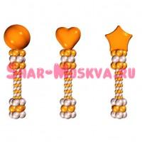 Стойка из маленьких шаров 2 цвета + фольгированный шар (круг звезда, сердце)