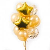 """Композиция из шаров """"золотые с конфетти"""" 15 шт., , 2090 р., Золото с конфетти, , Композиции из шаров"""