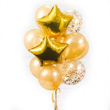 """Композиция из шаров """"золотые с конфетти"""" 15 шт."""